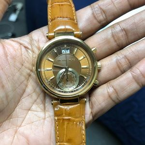 Michael Kors Gold and Brown Leather Embossed Watch